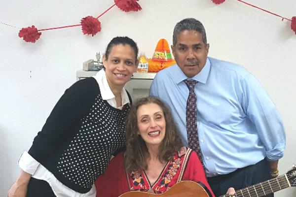 Flamenco guitarist Annalisa Ewald with Dennelisse LHCSA's Business Development Director and a guest.